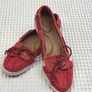 "Coach Red Women ""Rainey"" Boat Shoe 9B"